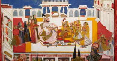 Bagta_-_Portrait_of_Rawat_Gokal_Das_Celebrating_'holi'_with_his_consorts,_dated_1808