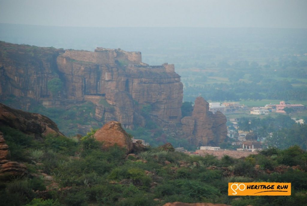 Badami rocky cliffs and temples